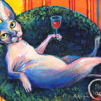 Sphynx Cat Relaxing Painting by Svetlana Novikova - Sphynx Cat Relaxing Fine Art Prints and Posters for Sale