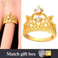 U7 Crown Rings For Women Trendy Gold Plated Cubic Zirconia Engagement /Wedding Bands Promise Rings R414
