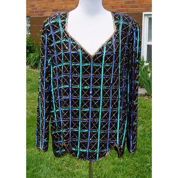 Silk and Sequins Beaded 80s Formal Blouse Top, Long Sleeve, Geometric Design, Shoulder Pads, Scala size 1x plus, Black, Turquoise, Gold,Blue