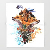 FOX II Throw Blanket by Burcu Korkmazyurek