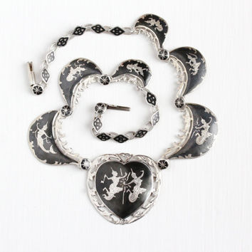 Vintage Sterling Silver Siam Heart Pendant Necklace - Goddess & God Mekkala Matcha Dark Niello Heavy Statement Panel Unique Ramakien Jewelry