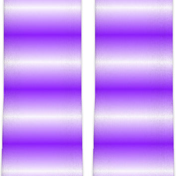 Modern neon knee high socks, horizontal purple stripes pattern, white and violet