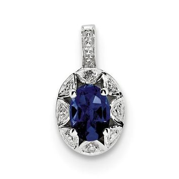 Sterling Silver Diamond And Created Blue Sapphire Pendant