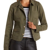 Top-Stitched Military Jacket by Charlotte Russe