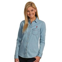 Antigua Los Angeles Angels of Anaheim Chambray Button-Down Shirt - Women's, Size: XL (Blue)