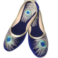 Blue Peacock Embroidered Flats