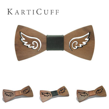 Wing Shape Wooden Black Gold Bow Tie Classic Carved From Wood Creative Neckwear  Butterfly Men Tie Shirt Accessories
