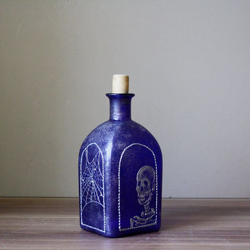 Halloween Bottle, Hand painted Bottle, Scull Bottle, Spider Web Bottle, Sceleton Bottle OOAK