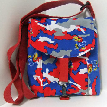 Small Messenger Bag - made by me with KU - Jayhawk fabric- camouflage - crossover purse