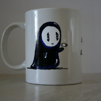NOFACE MUG with QUOTE. hand painted