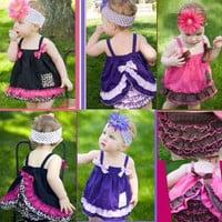 New Fashion Cute Kids Baby Girls Ruffle Tops Pants Set Bloomers Outfit Dress Gofuly