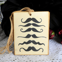 Mustache Distressed Vintage Style Gift Tags
