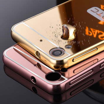 For HTC Desire 626 626W 626D 626G Case New Luxury slim Metal Aluminum Alloy Frame Mirror Back Cover phone Cover For HTC 626