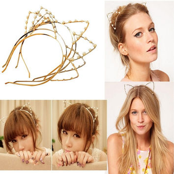 deals] Women Cat Ear Pearl Crystal Rhinestone Head Band Hair Wrap---XIN LAO = 5988073281