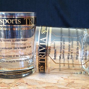 Culver Sports Trivia Old Fashioned Glasses, Pair