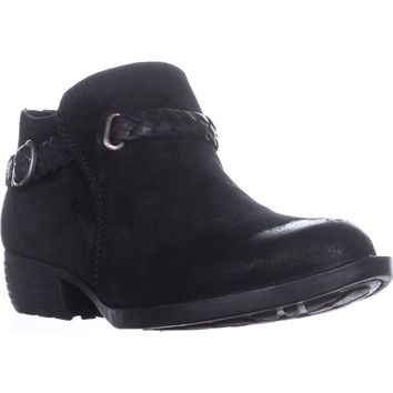 Born Sylvia Low Rise Western Ankle Boots, Black Leather, 8.5 US / 40 EU