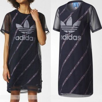 ESBONN adidas Originals Black Midi Dress With Sheer Mesh Overlay Mid long Dress