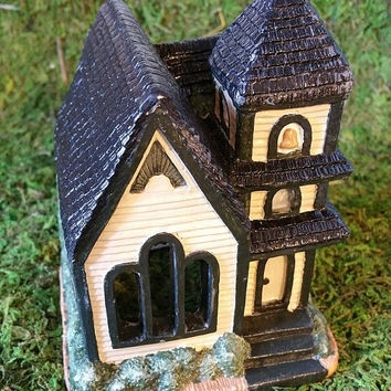 Hand Painted House, Country Church, Christmas Village House, Ceramic House, Holiday Tea Light House, Collectible House, Vintage
