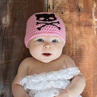 Kitty Skull Baby Hat - Skull Baby Clothes - Goth Baby - Punk Baby - Baby Gift for Girl - Newborn Photo Prop - Baby Beanie - Crochet Baby Hat