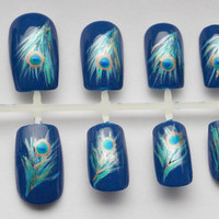 Peacock Feather Fake Nails - False, Artificial, Acrylic, Press-On