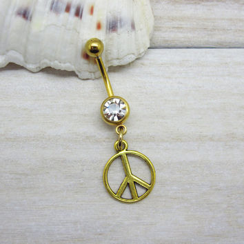 Antique gold peace sign belly button ring,  peace sign belly button jewelry,  peace navel jewelry, belly button ring jewelry,unique gift