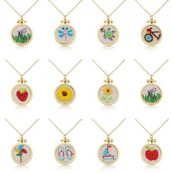 Embroidered Necklace Hand Stitched Statement Jewelry Floral Animal Fruit Pendant