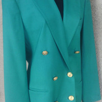 Talbot's Vintage blazer  size 8 double breasted green gold buttons 6 button front classic suit coat blazer