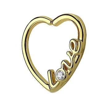 BodyJ4You 16G (1.2mm) Daith Earring Piercing Heart Love CZ Goldtone Tragus Helix Cartilage Hoop Body Jewelry