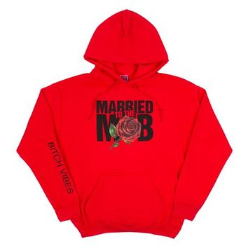 The Married to the Mob Rose Knit Pullover Hoodie in Red