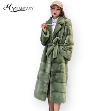 M.Y.FANSTY 2017 Green Swan Velvet Winter Mink Coat Pleated Real Fur Coat Turn-Down Collar Line Sashes X-Long Women Mink Coats