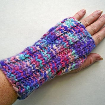Fingerless Gloves, Handspun Artisan Wristwarmers, Pink  Purple Turquoise Mitts, Merino Texting Gloves,  Handspun Knitted Space Dyed Art Yarn