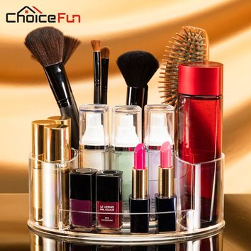 CHOICEFUN Oval Clear Acrylic Storage Stand Comb Makeup Brush Organizer Plastic Cosmetic Make Up Makeup Brush Holder For Vanity