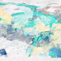 "Abstract Expressionist Work on Paper, Light, Blue, Colorful, Modern, ""Light And Airy"""