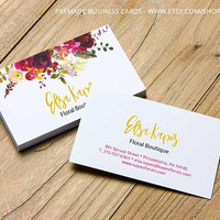 Business Card Design, Watercolor Flowers, Premade Business Cards, Feminine Business Cards, Custom Business Cards, Cheap Business Cards