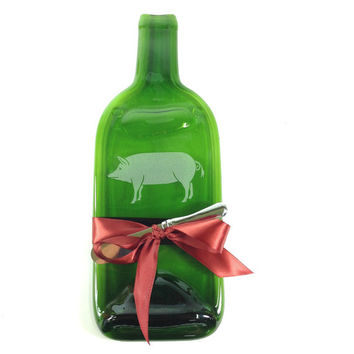 Etched Pig Melted Bottle Cheese Tray - Green Glass Wine Bottle