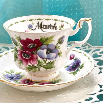 Royal Albert Tea Cup and Saucer, March Flower Birthday Teacup, Tea Cups Vintage, High Tea, Tea Party, English, Purple Teacup, Tea Cup Set