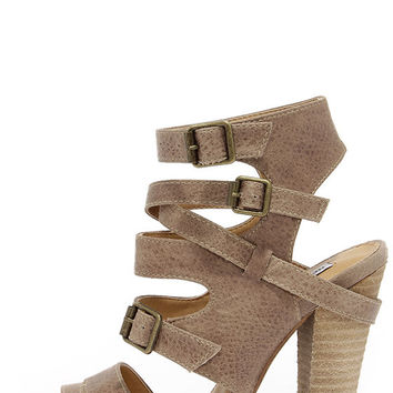 Not Rated Solana Taupe Peep Toe Caged Heels