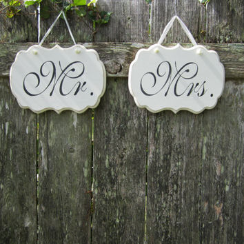 "Hand Painted Wooden Decoration White Shabby Chic Wedding Signs, ""Mr."" / ""Mrs."" Two Wooden Decorative Signs."