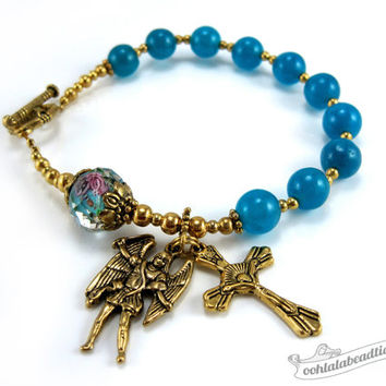 Blue Rosary bracelet with St Michael medal single decade rosary Confirmation gifts Catholic Rosaries gold rosary Catholic jewelry religious
