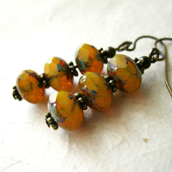 Amber Czech Glass Picasso Earrings. Translucent Orange Mustard Yellow Opal Fire Earrings. Stacked Dangle Earrings. Unique Bohemian Jewelry.