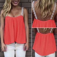 Ladies Summer Sleeveless Chiffon Floral Strap Tee Shirt Cami Tops = 5618638017