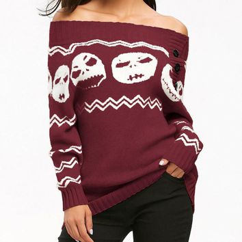 Winter warm sweater womens Skull Off Shoulder Casual