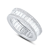 Sterling Silver Simulated Diamond Baguette Eternity Ring