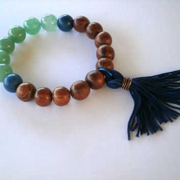 Multi Gemstone Stretch Bracelet. Blue Fabric Tassel. Aventurine, Wood Beads. Boho Bracelet. Stackable Stretch. Eco-Friendly Jewelry