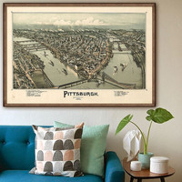 "Map of Pittsburgh 1902 Vintage Pittsburgh map in 4 sizes up to 54x36"" Pittsburgh, PA, Steel City, also in blue - Limited Edition of 100"