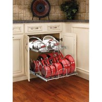 HD RS5CW2.2122.CR Rev-A-Shelf Two Tier Cookware Organizer - Chrome, 20.75 in., As Shown