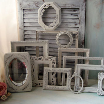 Reserved, Custom Order, Set of 12 Antique White Vintage Frames, Cottage Chic Off White Distressed Frame Gallery, Up Cycled Frame Collection
