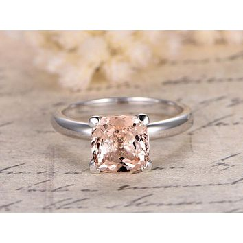 14K White Gold Natural 1CT Cushion Cut Peach Morganite Solitaire Engagement Ring
