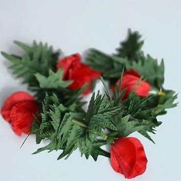 Premium Red Flower Lei Headband Boho Glad and Fern Crown
