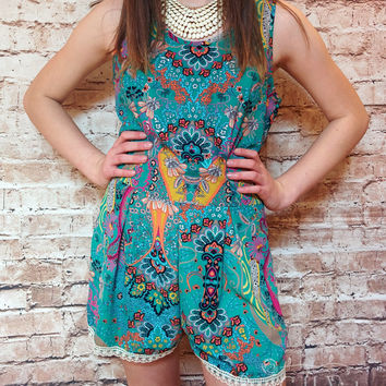 Lace Trim Paisley Romper (Ladies) - Small or Large only
